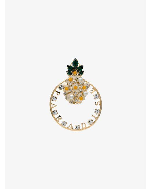 Anton Heunis - Metallic Gold Tone Pineapple Swarovski Earring - Lyst