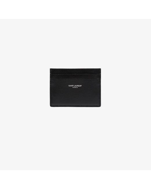 Saint Laurent - Black Logo Leather Cardholder for Men - Lyst