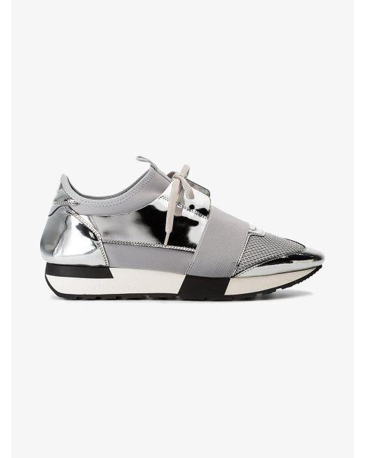 Balenciaga Grey and Silver Race Runner Leather Sneakers YdHnMiYma