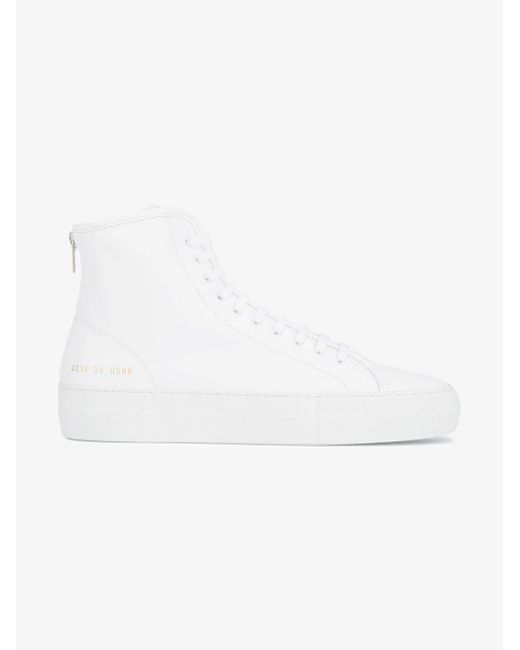 Common Projects - White Tournament Hi Top Sneakers - Lyst