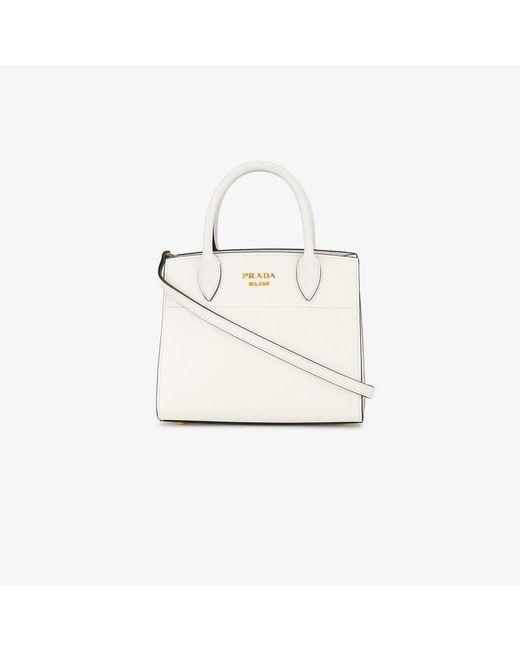e9e2804d7b7c Prada - White Biliotheque Small Tote Bag - Lyst ...