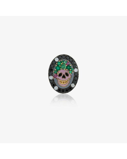 Holly Dyment - Metallic Gold And Emerald Small Skull Pendant Necklace - Lyst