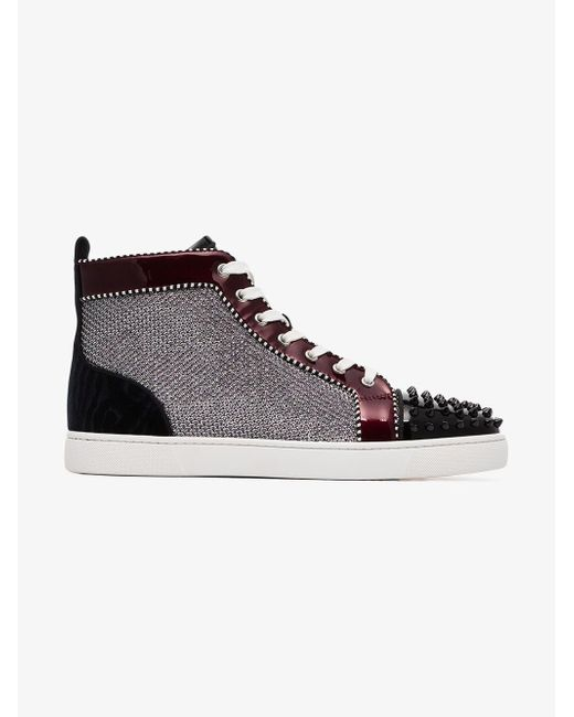 f5ee0bac3f8c ... Christian Louboutin - Metallic Orlato Stud Embellished And Patent  Leather Sneakers for Men - Lyst ...