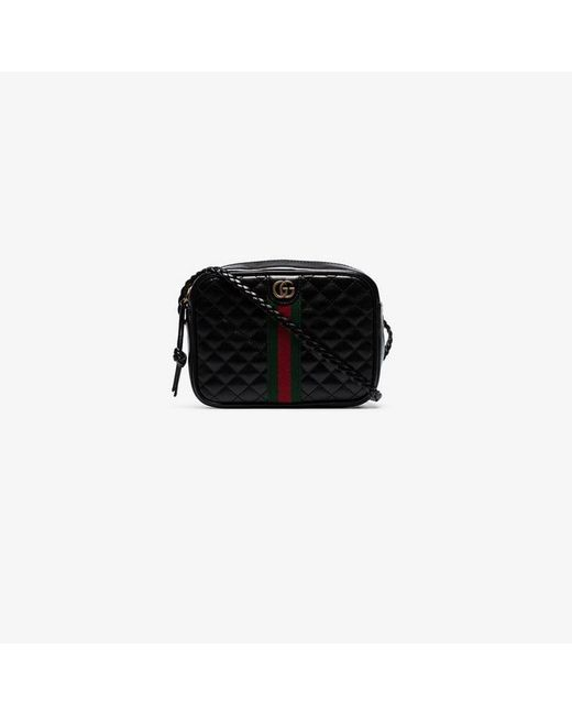 6946cdd7e34 Lyst - Gucci Black Quilted-leather Small Shoulder Bag in Black