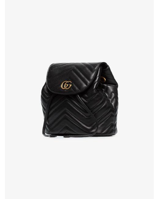 22256d23c824 ... Gucci - Black GG Marmont Matelassé Backpack - Lyst ...