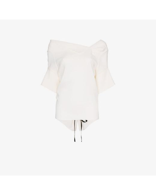 Roland Mouret - White Crawford Draped Neck Wool Top - Lyst