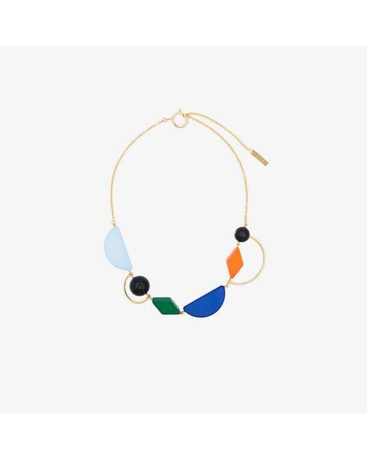 Marni - Blue Geometric Design Necklace - Lyst