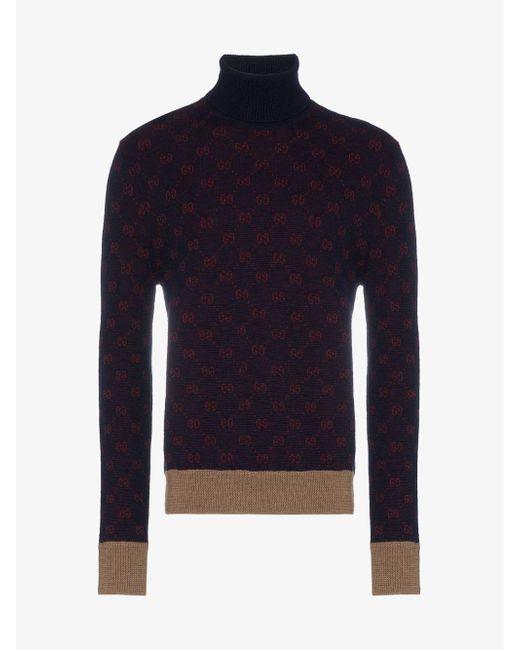 9a3ce747b8d ... Gucci - Blue GG Logo Turtleneck Knit Sweater for Men - Lyst ...