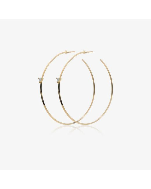 Lizzie Mandler - Metallic Yellow Gold Diamond Hoop Earrings - Lyst