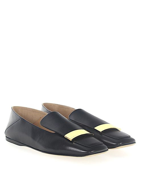 Sergio Rossi - Slipper A77990 Nappa Leather Black Gold-plated - Lyst