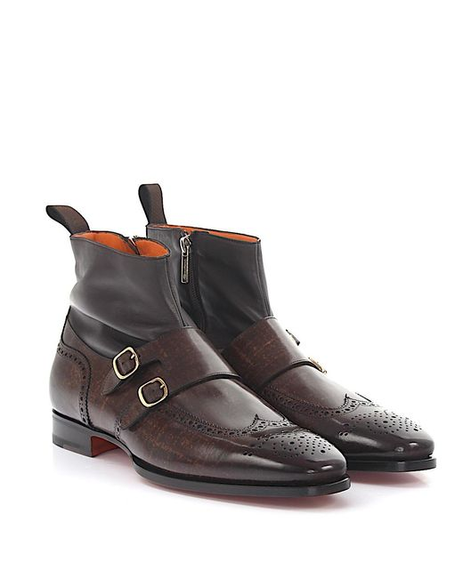Santoni - Boots Double-monk 15714 Brogue Nappa Leather Brown Leather Brown Finished for Men - Lyst