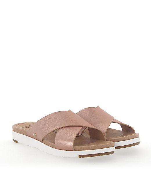 Ugg - Pink Sandals Kari Metallic Calfskin Logo Rose - Lyst
