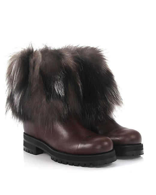 Jimmy Choo - Boots Dana Flat Leather Fox Fur Brown - Lyst