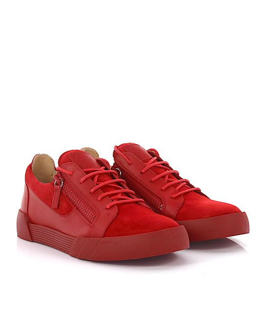 Clearance Online Ebay Sneaker The Shark 5.0 Low leather suede red Giuseppe Zanotti 2018 For Sale Buy Cheap How Much lqgc98