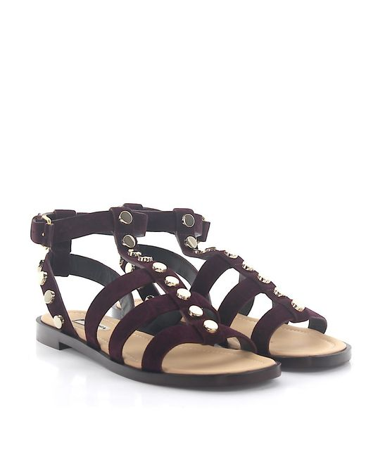 Balenciaga - Red Strappy Sandals Calfskin Suede Rivets Bordeaux - Lyst