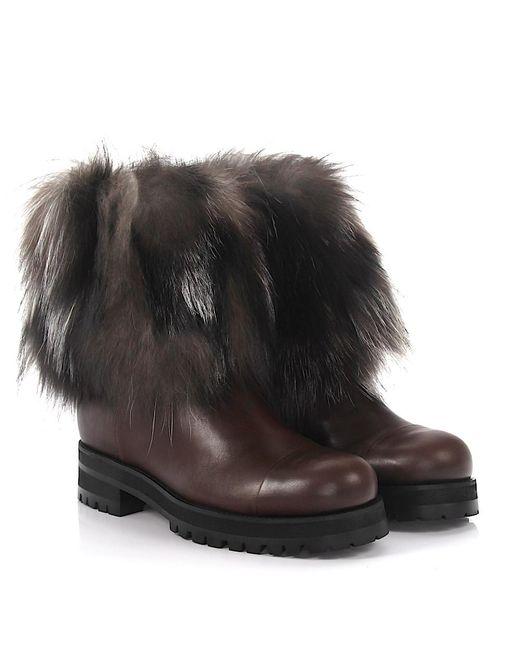 Jimmy Choo - Boots Dana Flat Leather Fox Fur Brown - Lyst