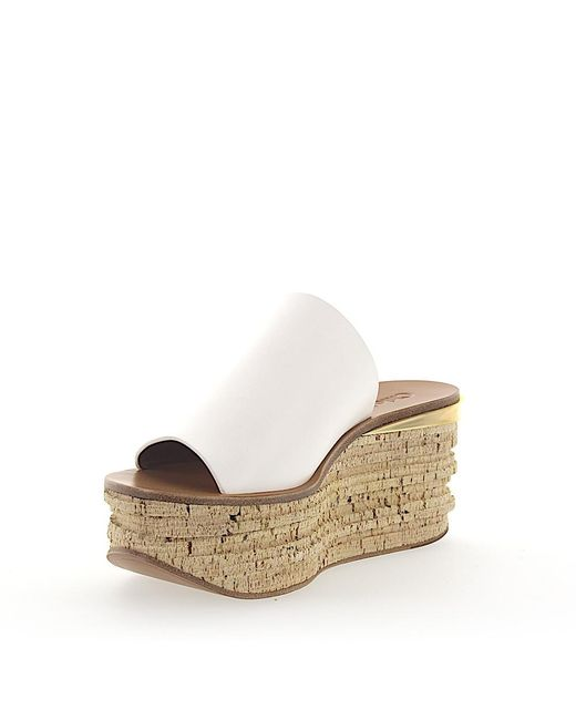 ea47dce61e3a ... Chloé - Wedge Sandals Camille Leather White - Lyst ...