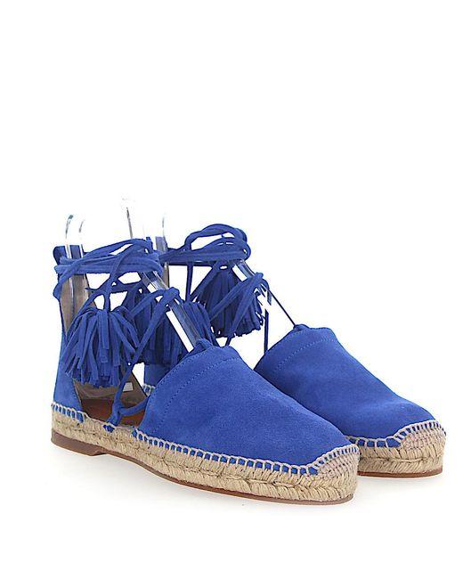 DSquared² - Blue Espadrilles Sandalen Flat Veloursleder Blau Römerschnürung - Lyst