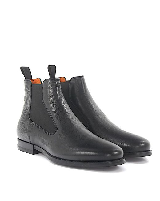 Chelsea Boots 14849 leather black soft hand sewn Santoni