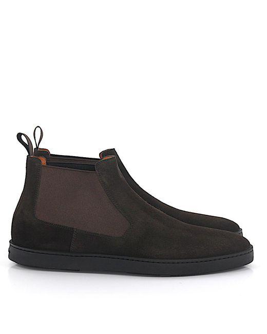 Santoni | Chelsea Boots 15239 Suede Brown for Men | Lyst