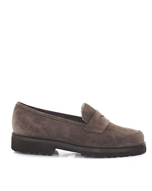 Unützer - Gray Loafers Lamb Fur Suede Taupe - Lyst