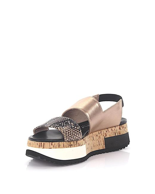 Attilio Giusti Leombruni | Metallic Agl Sandals D60812 Plateau Slingback Leather Gold Black Snake Embossed | Lyst