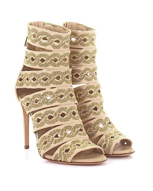 Casadei - Natural High Heels Calfskin Nappa Leather Stretch Embroidery Beige Gold - Lyst