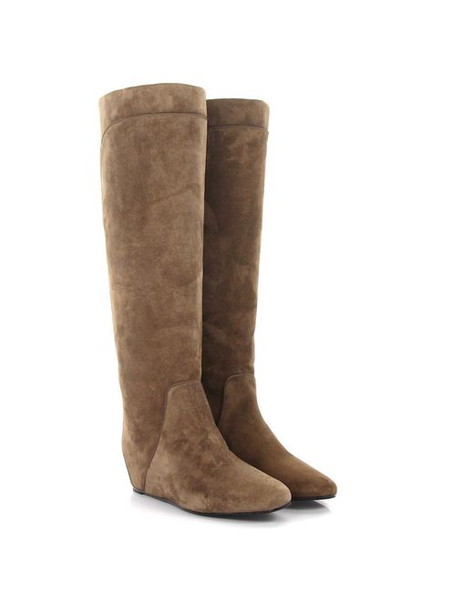 Lanvin - Natural Boots Wedge Suede Beige - Lyst