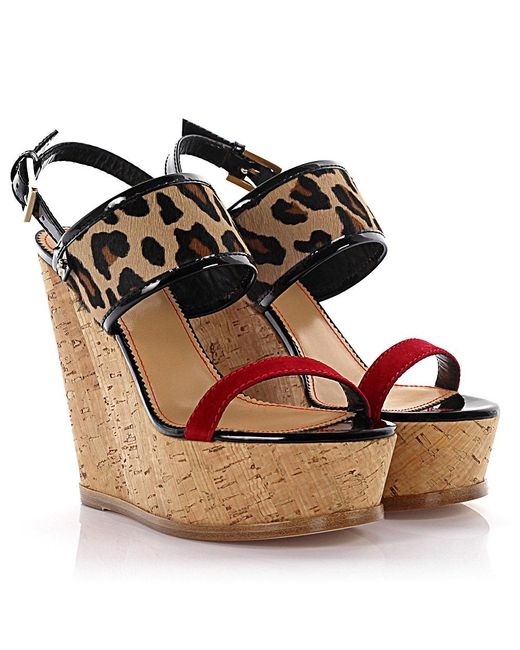 DSquared² - Natural Wedge Sandals Essential Plateau Ankle Strap Pony Hair Beige Animal Print - Lyst