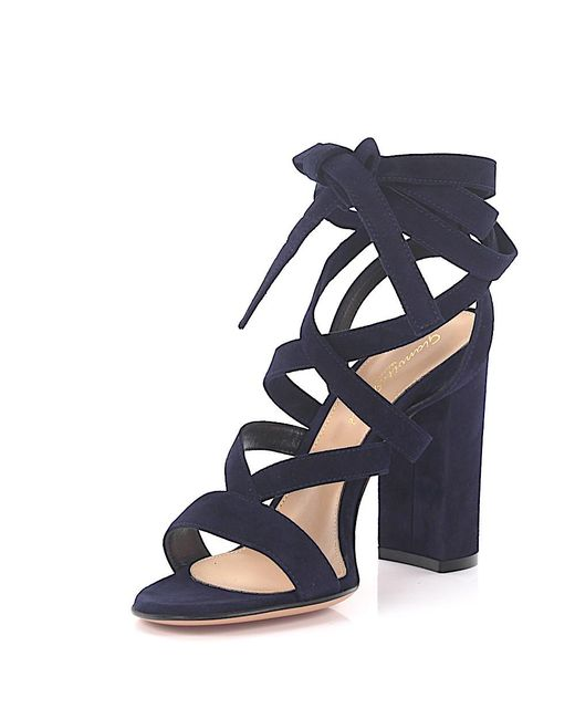 Gianvito Rossi | High Heel Sandals Janis Suede Blue | Lyst
