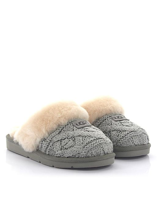 Lyst - Ugg House Slippers Cozy Cable Knitted Grey Lamb Fur in Gray