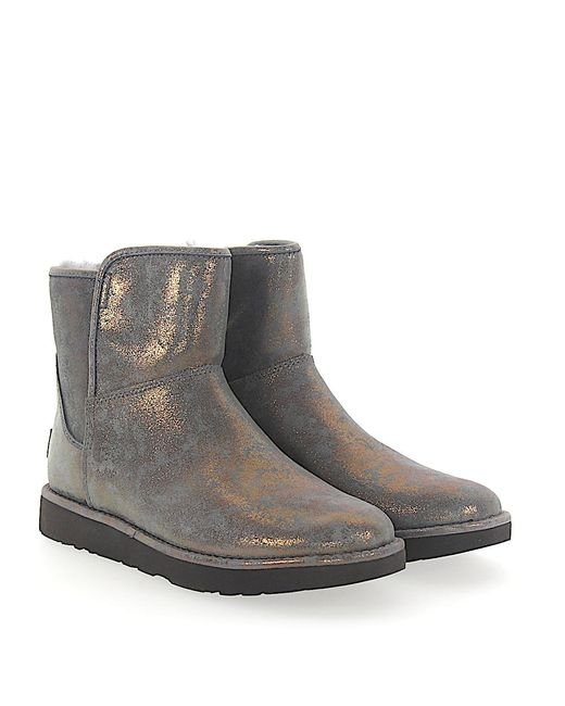 Ugg - Gray Ankle Boots Lamb Fur Suede Finished Logo Bronze Green - Lyst