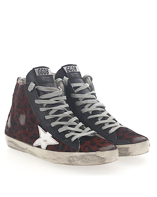 Golden Goose Sneakers Mid Top G31WS Pony hair leoprint Star-Patch leather white b3zlmOlq