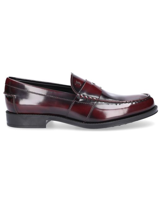 Tod's - Red Penny Loafer D0k130 Calfskin Logo Bordeaux for Men - Lyst