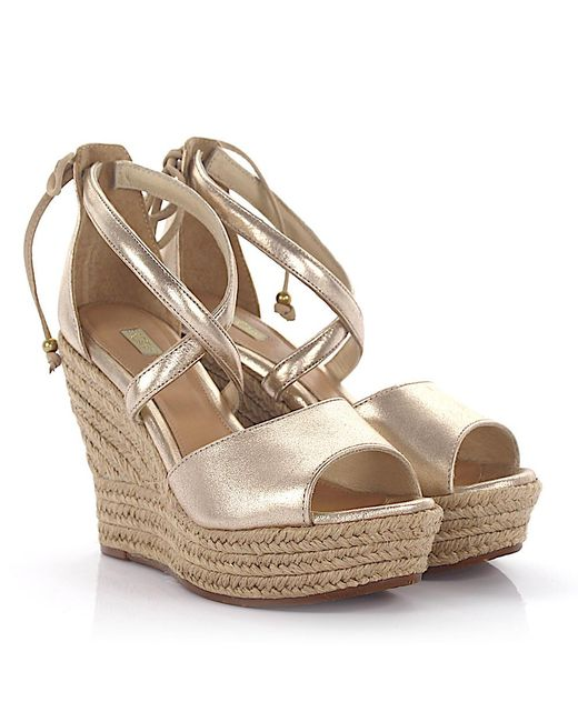 Ugg - Metallic Wedge Sandals Reagan Plateau Leather Gold Finished Bast - Lyst