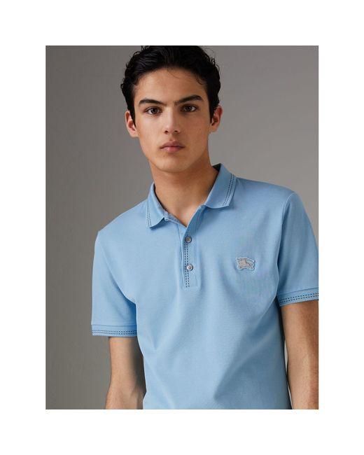 8c8045a08 Burberry - Blue Cotton Piqué Polo Shirt for Men - Lyst ...