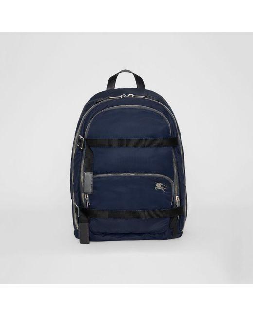 61d5ecdd0b75 Burberry - Blue Large Ekd Aviator Nylon Backpack for Men - Lyst ...