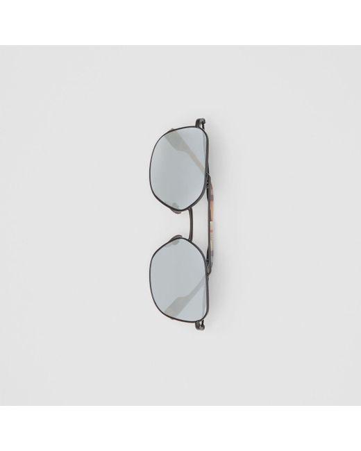9b73f8bb1a3 ... Burberry - Multicolor Top Bar Detail Square Pilot Sunglasses for Men -  Lyst ...