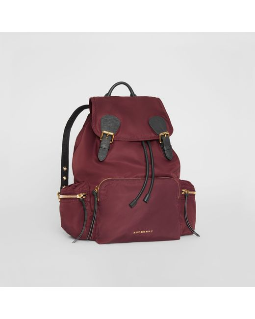 beaeeacf2524 ... Burberry - Purple The Large Rucksack In Technical Nylon And Leather  Burgundy Red - Lyst ...