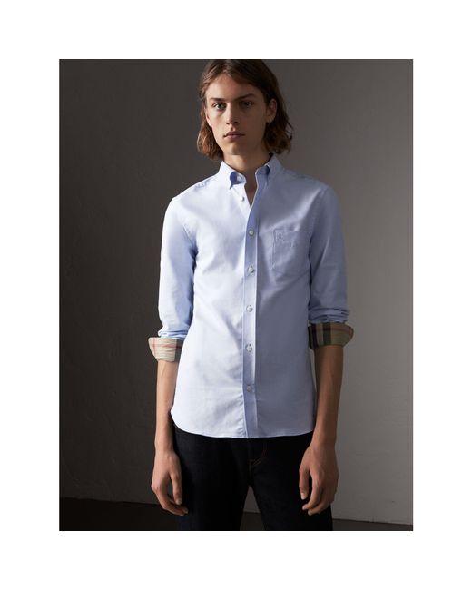 Burberry   Check Detail Cotton Oxford Shirt Cornflower Blue for Men   Lyst .