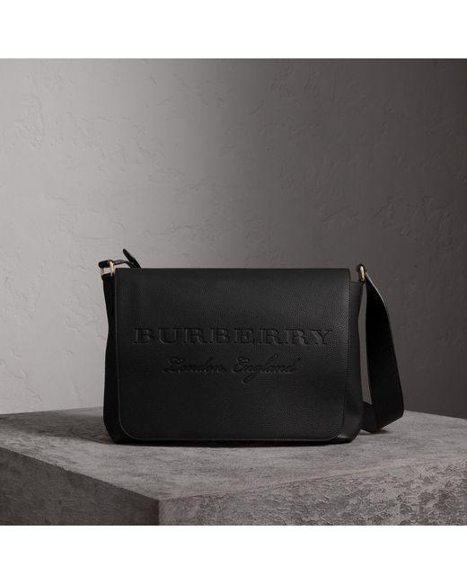 Burberry - Black Large Embossed Leather Messenger Bag for Men - Lyst