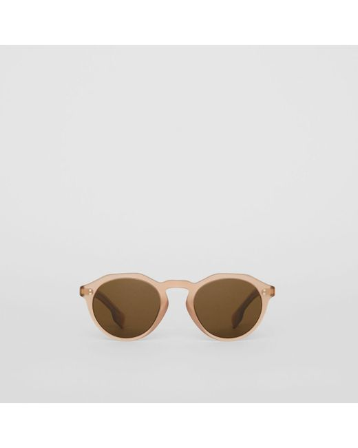 358ddc930b2f Burberry - Brown Keyhole Round Frame Sunglasses for Men - Lyst ...