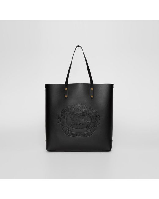 e0af6837e07b Burberry - Black Embossed Crest Leather Tote - Lyst ...
