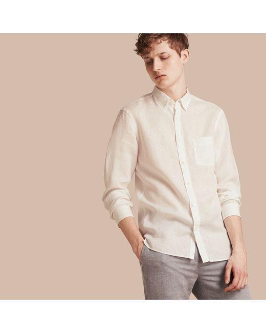 Burberry button down collar linen shirt white in white for for White button down collar shirt