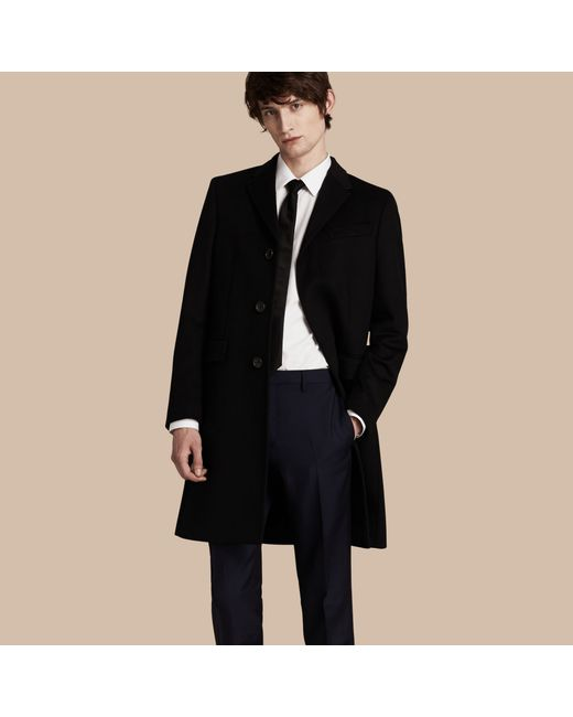 Burberry Wool Cashmere Tailored Coat Black in Black for Men | Lyst