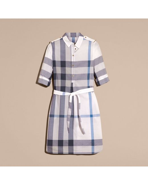 Burberry Check Cotton Shirt Dress Ink Blue In Blue Ink