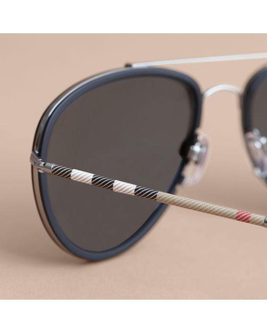 burberry blue sunglasses vrus  Burberry  Check Detail Pilot Sunglasses Blue  Lyst