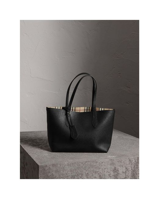 Burberry | The Small Reversible Tote In Haymarket Check And Leather Black | Lyst