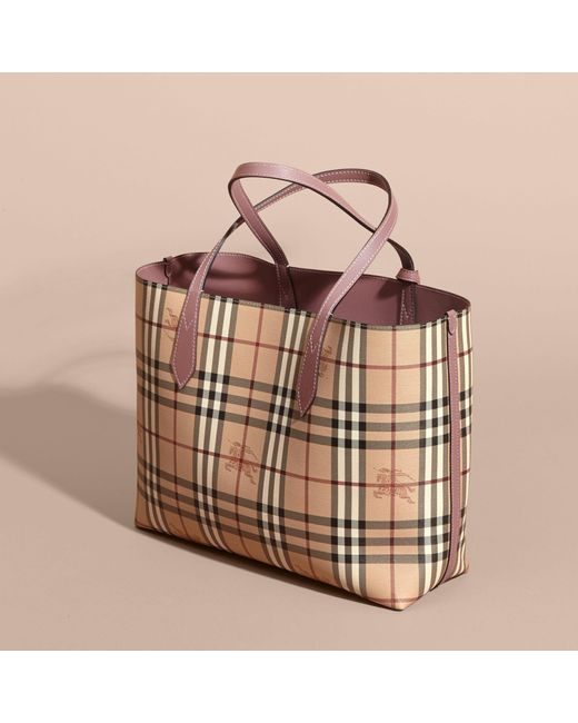 23dab658219f Burberry The Medium Reversible Tote In Haymarket Check And Leather Light  Elderberry