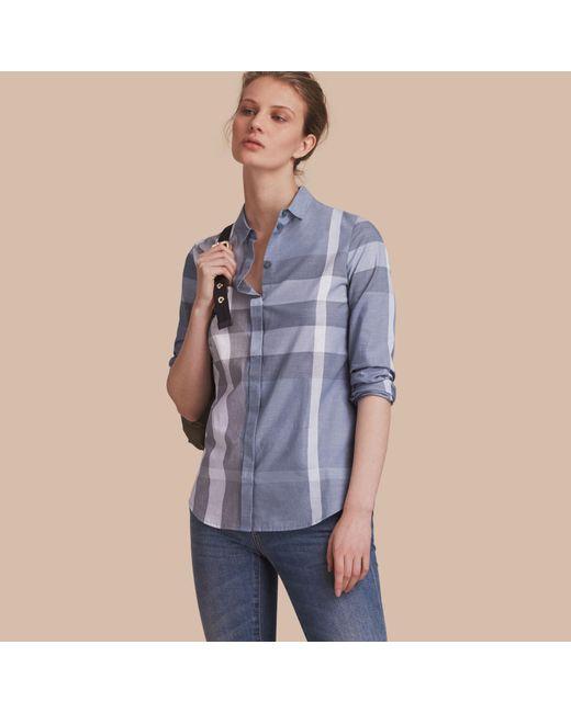 Burberry | Check Cotton Shirt Canvas Blue | Lyst